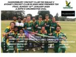 HAWKS NAME SQUAD FOR 1ST GRADE T20 FINAL V SYDNEY CRICKET CLUB          SUNDAY 12 JANUARY 2020                                          @DRUMMOYNE OVAL 2.30PM