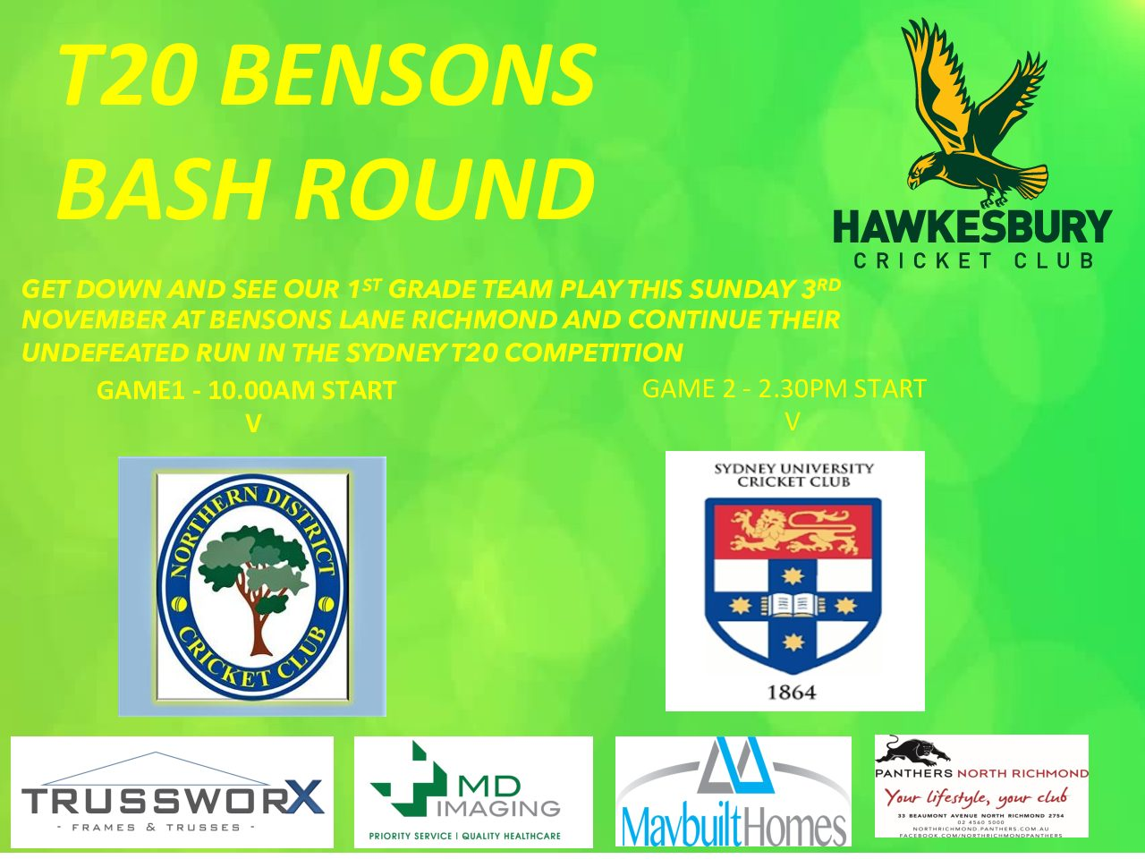 HAWKS IN T20 DOUBLE HEADER THIS SUNDAY 3RD NOVEMBER